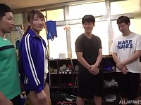 Japanese sporty teen Arihara Ayumi takes off her uniform in a gangbang