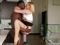 Busty blonde Kate England has her cuckold lick the cum off of her tits