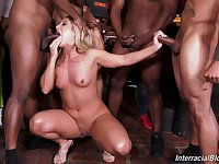 A horde of big black dicks gangbanged and cum sprayed Candice Dare