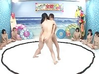 Lesbian naked sumo oiled ass