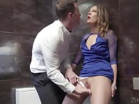 Hardcore bathroom ass fingering and a fuck with blonde Blue Angel