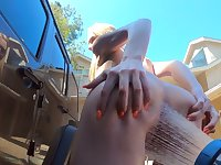 Bootyful chick in shorts Emma Starletto washes a car and polishes a big dick