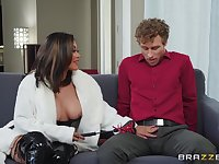 Asian MILF in a latex dress Kaylani Lei doggy pounded hardcore