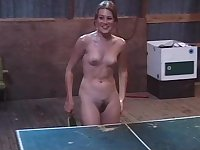 Oiled nude table-tennis