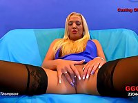 Trashy Euro whore in stockings and lipstick spreads her legs