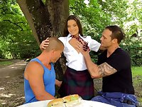 Hardcore outdoor threesome with Anita Bellini and two studs