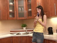Brunette slut Aimee Ryan ass and pussy fucked in the kitchen