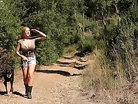 Stranded blonde kidnapped and tied up in the forest