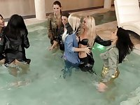 Messy glamorous lesbian orgy with Coco de Mal in the pool