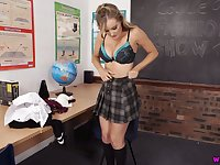 Horny nympho in college uniform Yasmin Grayce flashes tits and tickles pussy