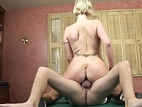 Mommy rides a dick on the pool table