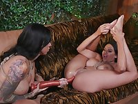 Army girls Lily Lane and Missy Martinez pound each other's assholes