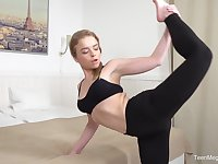After a yoga class sweet blonde Calibri decides to reach orgasm with a guy