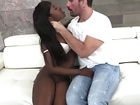 Big bottomed ebony hooker Noemie Bilas worships huge white penis and gets her anus fucked