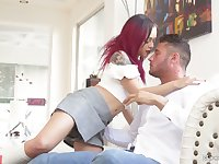 Dude enjoys toying Holly Hendrix's anal hole while she blows his big dick