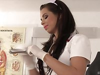 Kinky nurses in slutty outfits give their patient a group blowjob