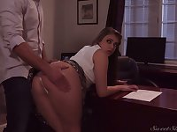 Naughty gal in short skirt Gia Derza wanna be fucked right on the table