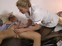 Horny nurse in sexy black stockings and high heels Holly Kiss is poked doggy