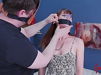 Red haired babe gets her anus toyed and fucked by one kinky dude in mask