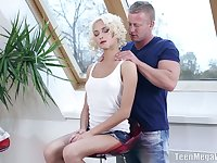 Svelte blondie with cute curls Olivia C gets nude and fucked from behind