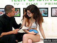 Nerdy brunette in glasses Ava Taylor does her best in hot casting XXX video