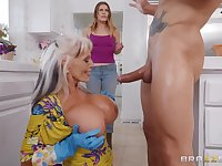 Sally D'angelo gets her cunt fucked by a handsome dude in the kitchen
