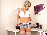 Ample breasted and big bottomed secretary Lilah is masturbating in the office