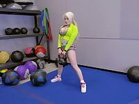 blonde girl Nikki Delano rides a friend's penis after training