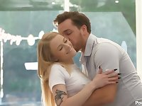 Tattooed cute babe Paris White is making love with her hot blooded boyfriend