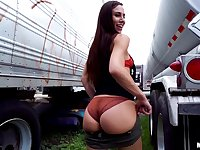 Big booty teen Aidra Fox takes cash for a doggy style outdoor fuck