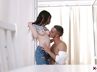 Bare boned teen Ariana Shaine is having passionate sex with well endowed boyfriend