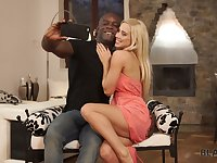 Wearing only peach high heels hot Nesty gets poked by black stud well