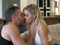 Lovely blond babe Jessa Rhodes is making love with experienced old lover