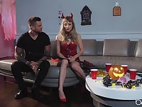 Stunning Ivy Wolfe delights in a costumed Halloween dicking