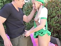 Cute pigtailed blonde cookie girl Khloe Kapri is fond of stroking and sucking cock