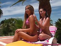 Outdoor lesbian sex by the pool - Judith Z and Sandra Shine
