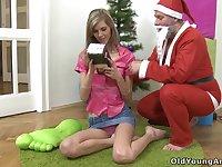 Santa fucks a good girl Lola on Christmas Eve and that teen is tall