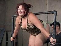 Fat redhead Mimosa gets tied up, tortured and spanked until she cries