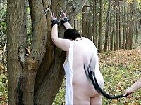 I punish my super fat wife Frosya in the garden