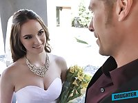 Depraved bride Jazmin Luv competes in giving a proper solid blowjob