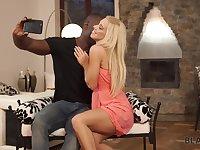 Slender blond babe Nesty is making love with her black boyfriend