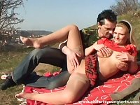 Outdoor fucking in the local field with chubby blonde Sandra R