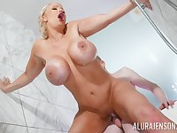 Erotic shower fantasy on a young man's monster dick