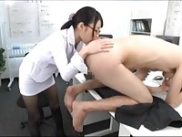 Japanese secretary with glasses licks the whole body of her boss