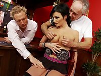 Busty MILF gets busy with two men and fucks until exhaustion
