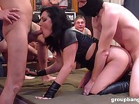 Full orgy with a woman addicted to all these dicks