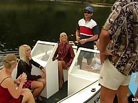 Glamour bitches fucked by two rich dudes on a private Yacht