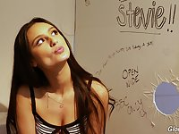 Lewd teen with dimples Eliza Ibarra gives an interview in the glory hole room