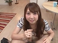 Japanese wife surprises her man with a great POV blowjob