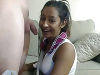 Wondrous raven haired amateur Desi girlfriend is a good blowjob guru